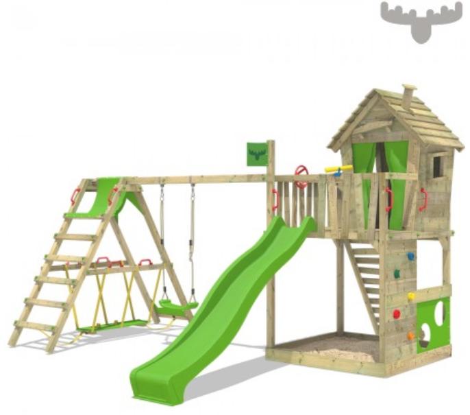 Aire de jeux en bois avec maisonnette sur pilotis et extension de surf swing