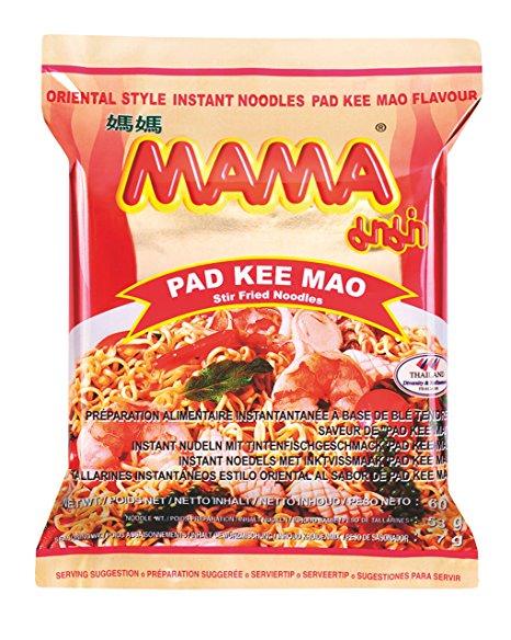 Lot de 90 Sachets de Nouilles Instantanées Mama  Pad Kee Mao - 90 x 60g