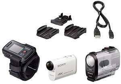 Caméra sportive Sony FDR-X1000 Remote Edition (4K UHD, CMOS, 8.8 Mpix, blanc) + Montre de pilotage