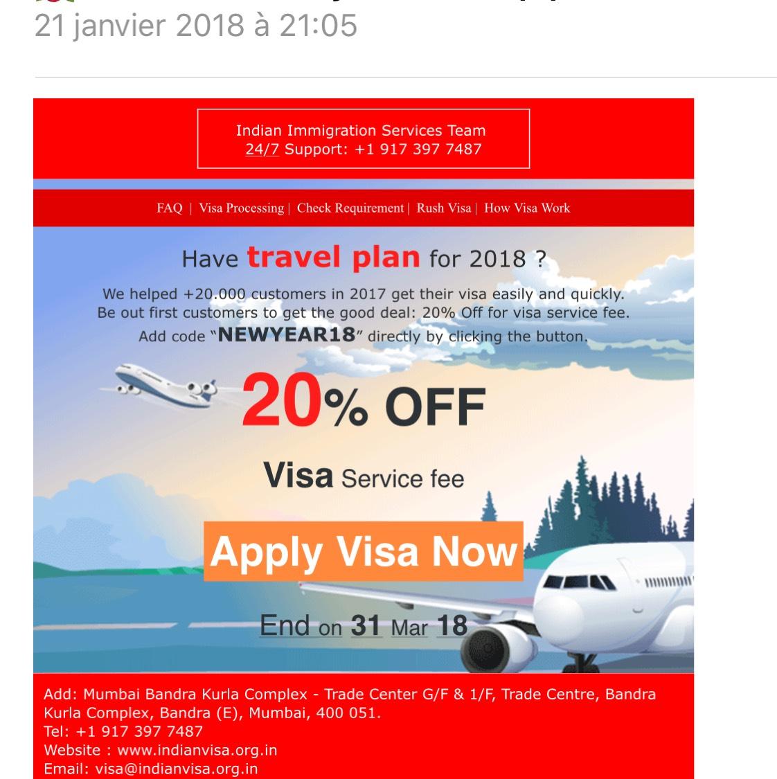 20% de réduction sur votre visa pour l'Inde