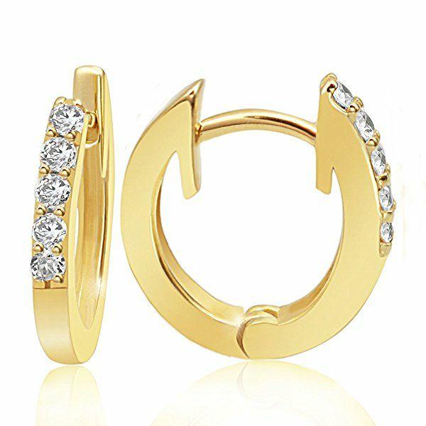 Boucles d'Oreilles Créoles Femme - Or jaune 585/1000 (14 carats) 2.1 gr - Diamant