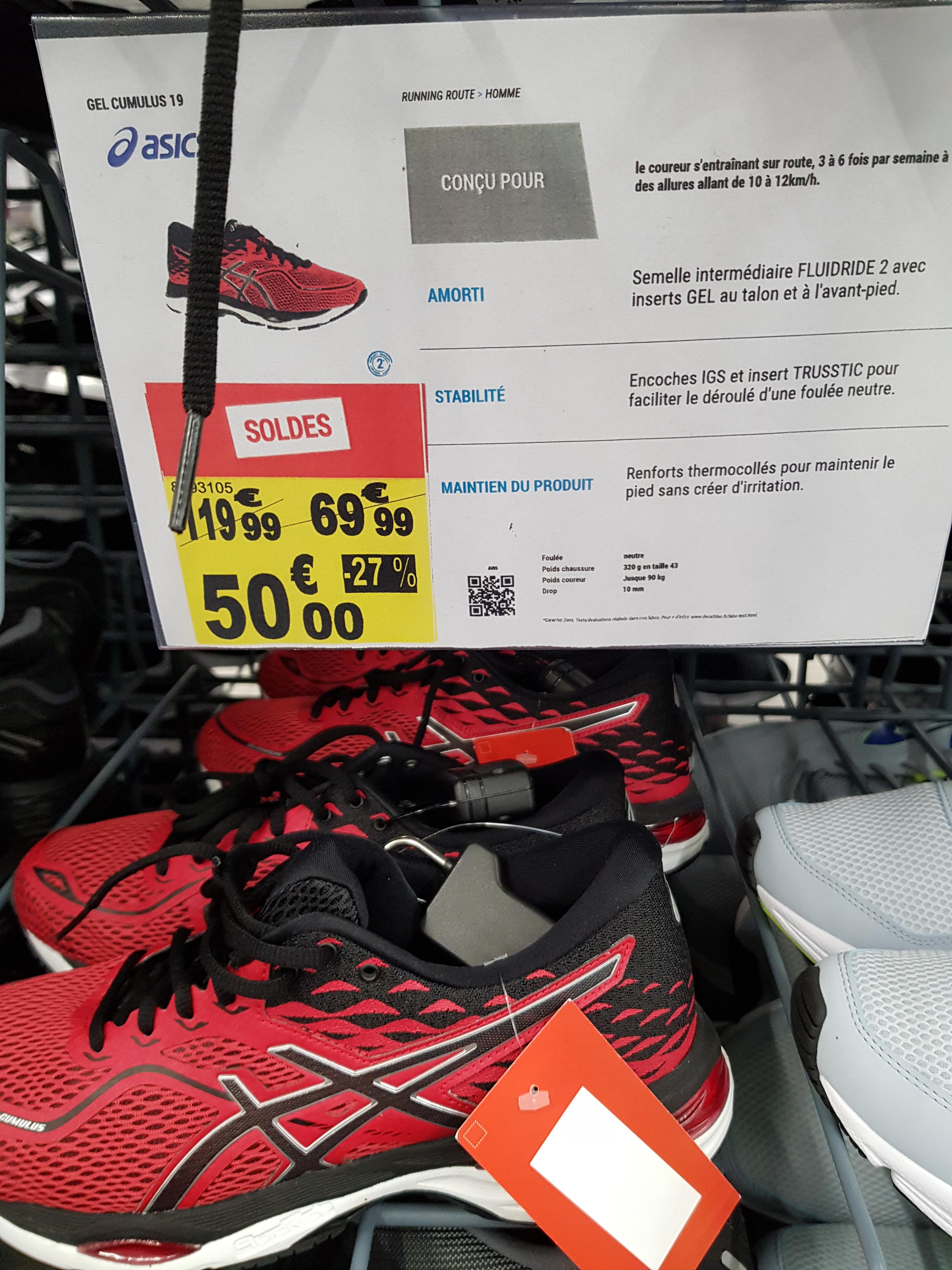 Chaussures de running Asics Gel Cumulus 19 - rouge (du 41 au 46) au Decathlon Chauconin-Neufmontiers (77)