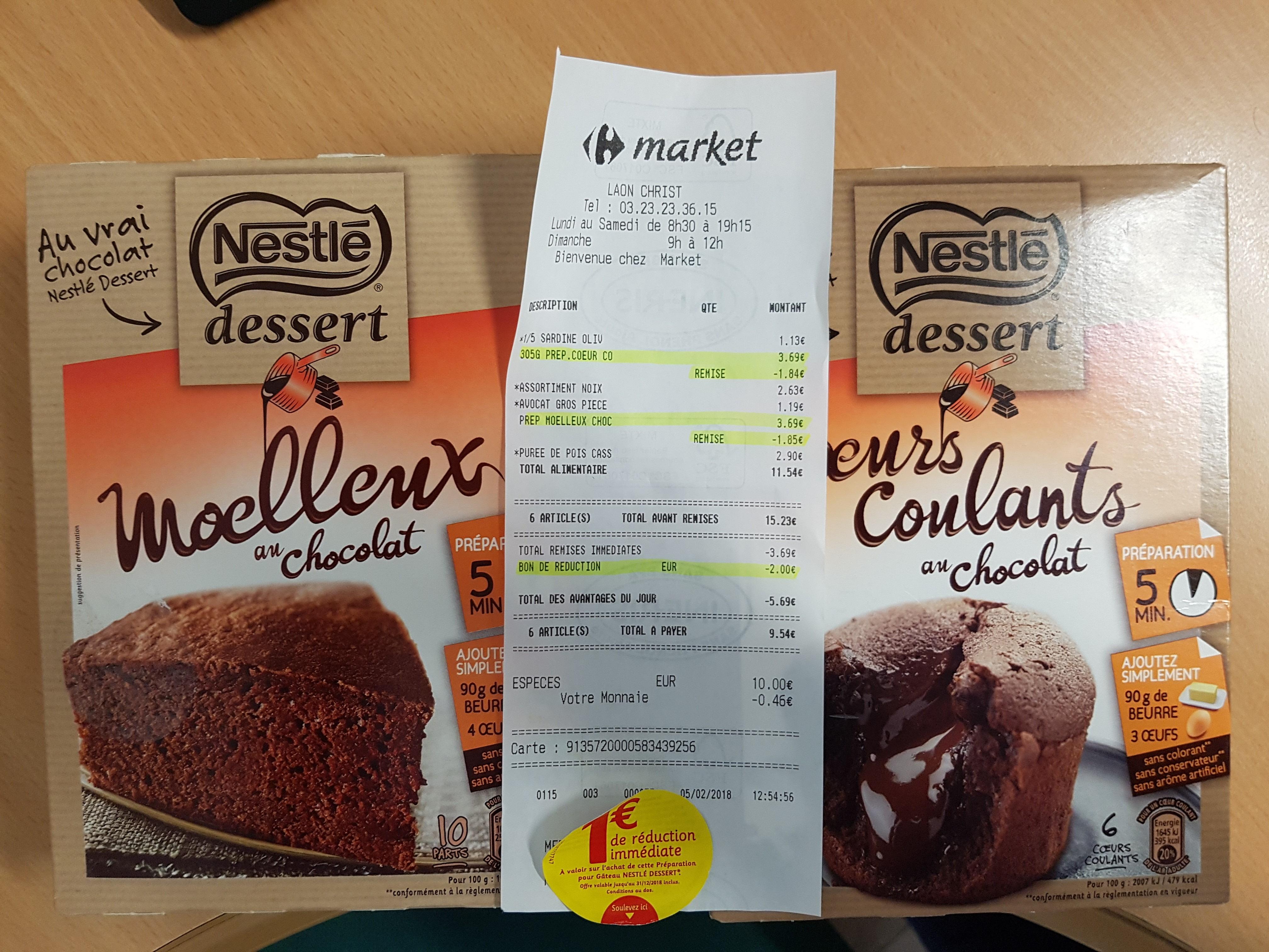 Préparation pour gâteau Nestlé Dessert Moelleux au Chocolat (via BDR) au Carrefour Market Laon (02)