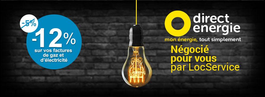 12% de réduction sur vos factures de gaz et d'électricité Direct Energie avec LocService