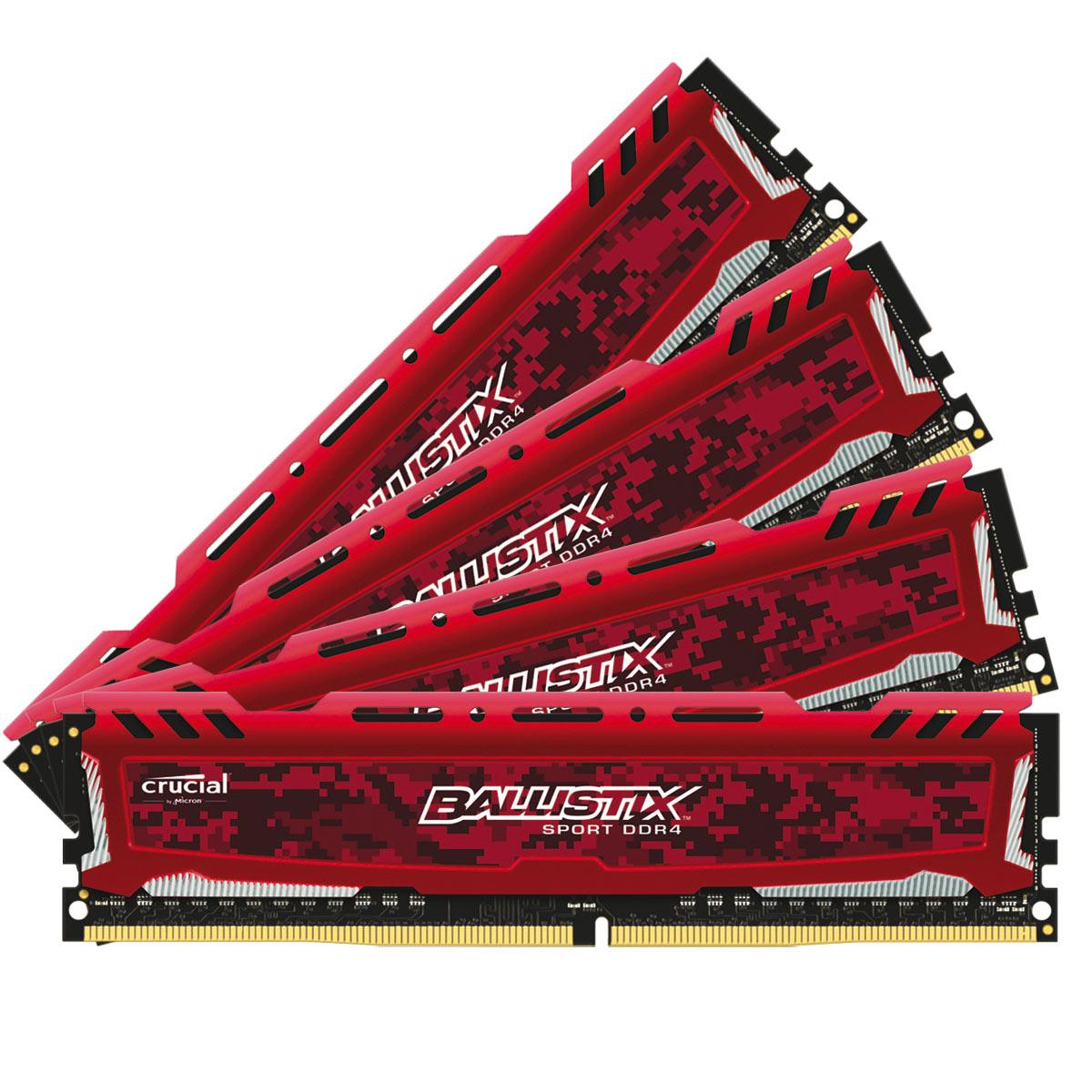 Kit mémoire Ram DDR4 Ballistix Sport LT 64 Go (4 x 16 Go) - 2400 MHz
