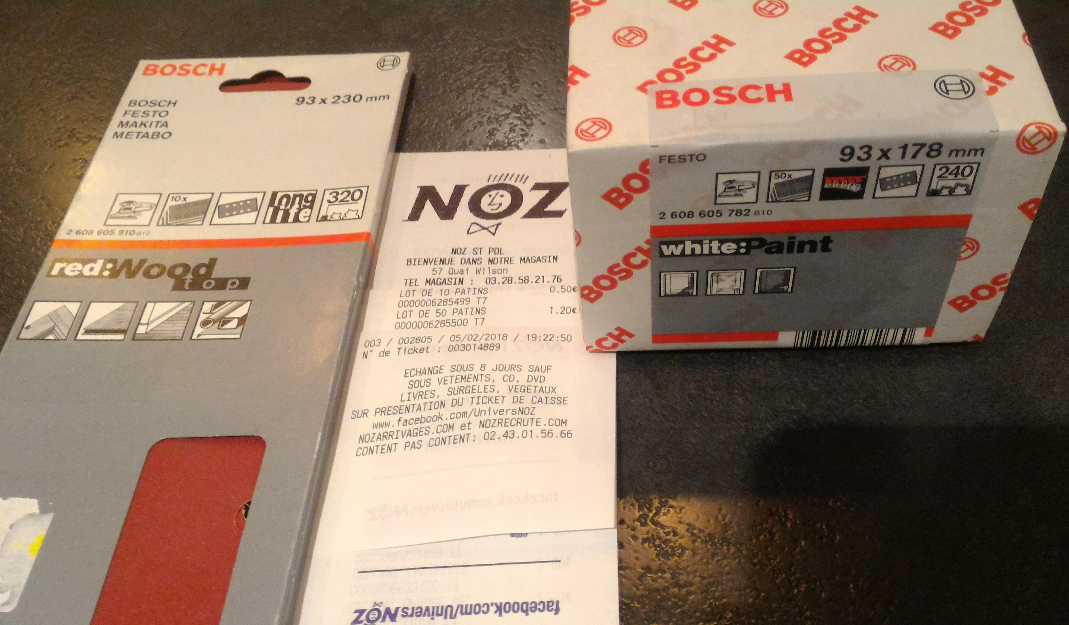 Feuilles abrasives Bosch pour ponceuse - Noz