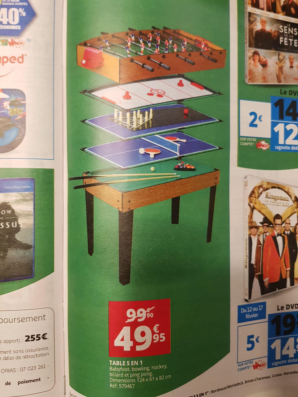 Table de jeux 5-en-1