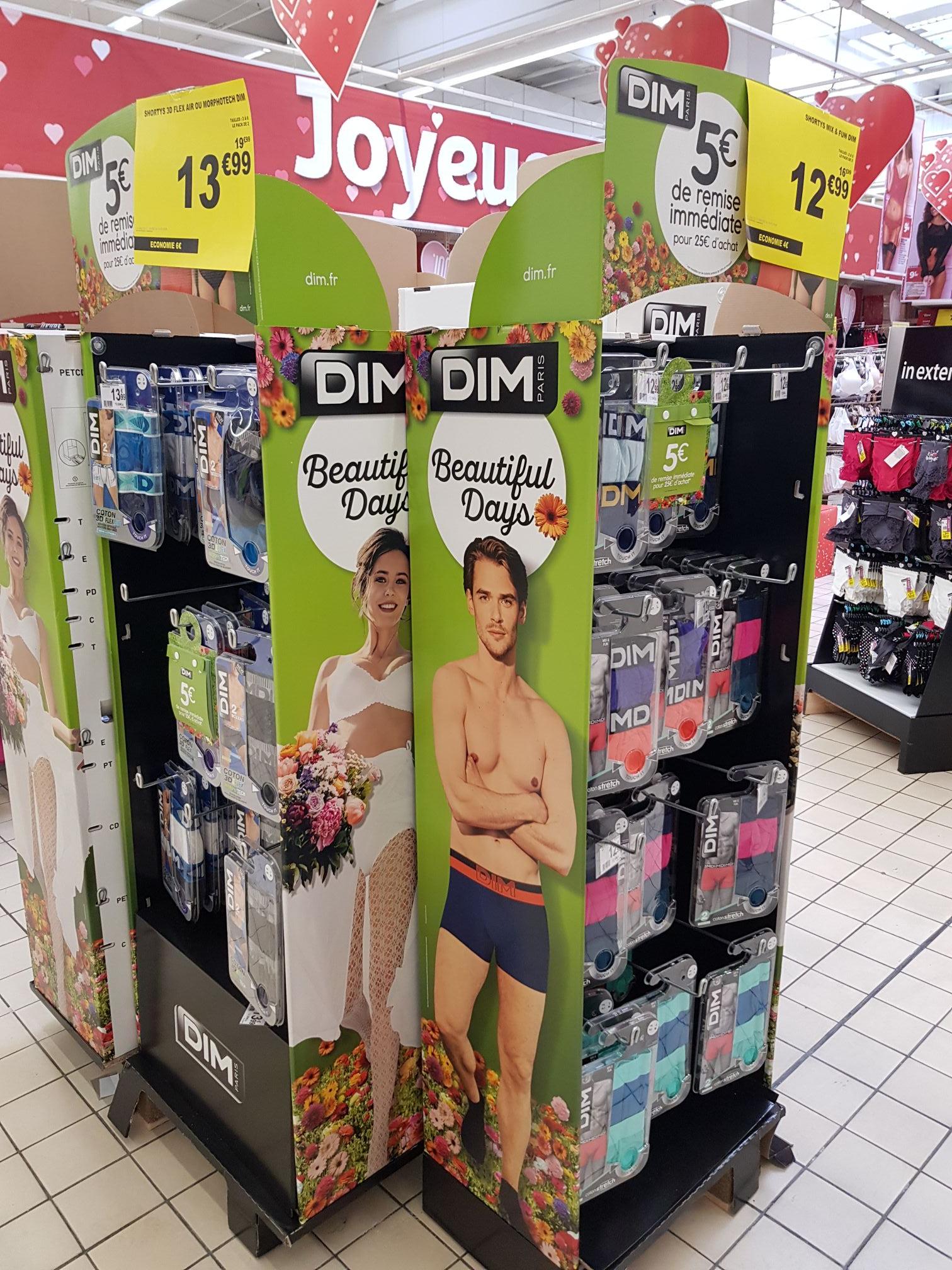 5€ de réduction des 25€ d'achat sur les produits DIM - Auchan Angoulême (16)
