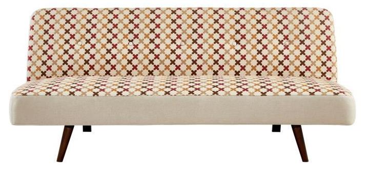 Banquette clic-clac 3 places Malo - Tissu, Jaune, Vintage, 180x90cm