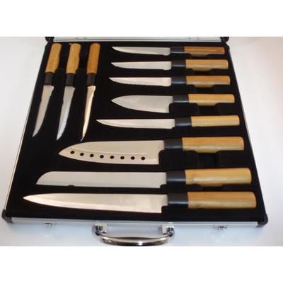 Valise de 5 couteurs de cuisine + 6 couteaux à steaks de daube - avec manche en bambou
