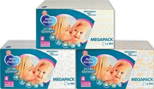 Lots de 3 Megapacks Changes Bébé Mots d'Enfants Ultra Confort  - Ex: Taille 4 (3 x 144)