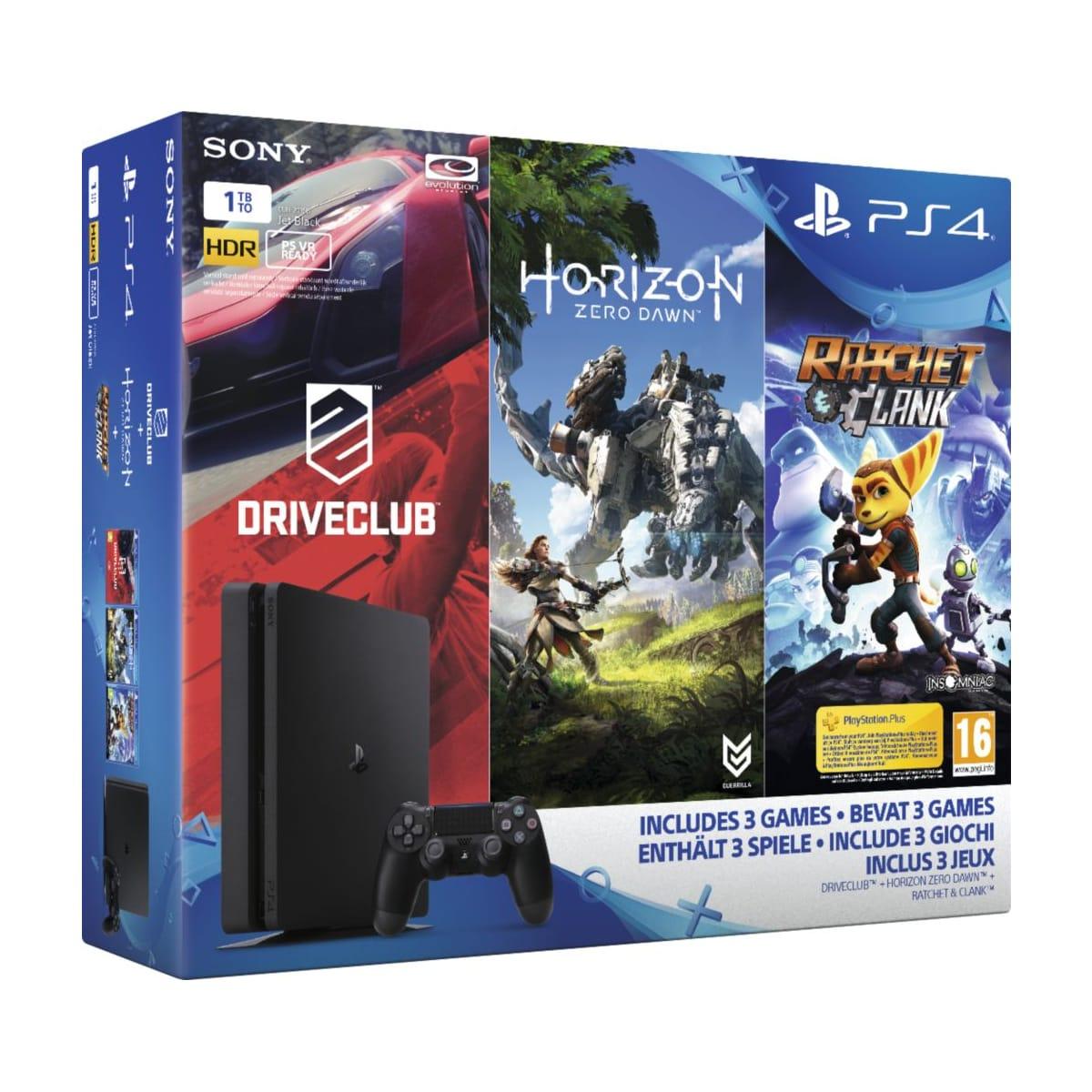 Pack console Sony PlayStation 4 Slim - 1 To + DriveClub + Horizon Zero Dawn + Ratchet & Clank + Qui es-tu (dématérialisé)