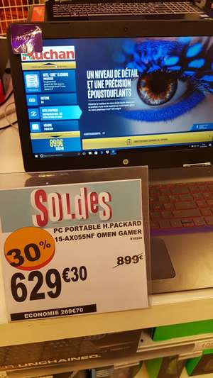 "PC Portable 15.6"" HP Omen 15-ax055nf - Full HD, i5-6300HQ, RAM 8 Go, HDD 1 To, GTX 960M 4 Go - Auchan Béziers (34)"