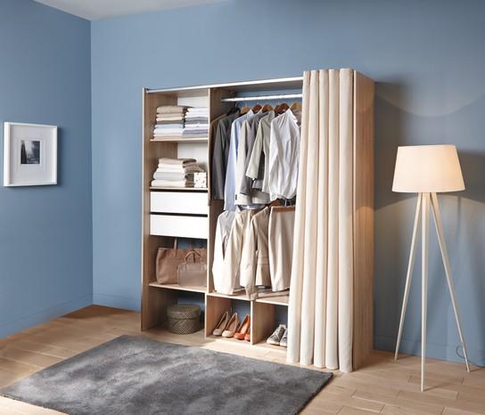 meuble dressing avec rideau 200 x 120 180 x 48 cm. Black Bedroom Furniture Sets. Home Design Ideas