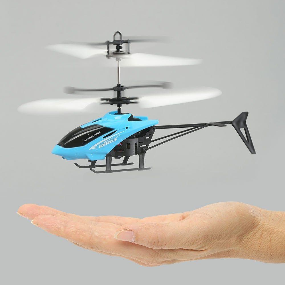 Mini hélicoptère à Induction avec LED Clignotante - Bleu