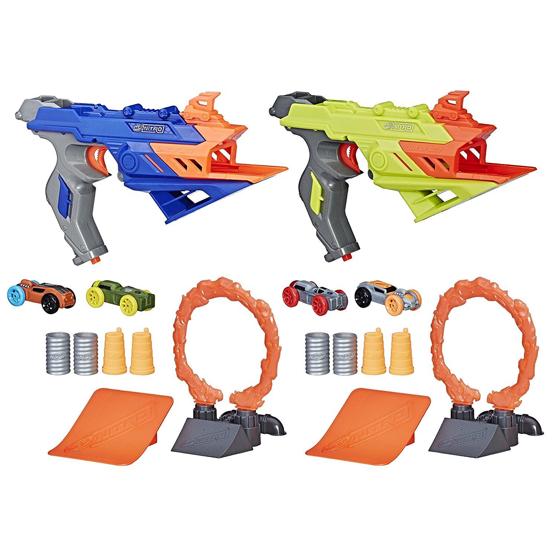 Lot de 2 pistolets à petites voitures + accessoires Nerf Nitro Duelfury Demolition