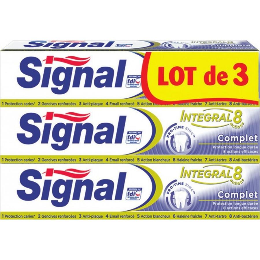 Lot de 3 Tubes de Dentifrice Signal Intégral 8 (Via 3.68€ sur la Carte de Fidélité + 0,60€ de BDR)