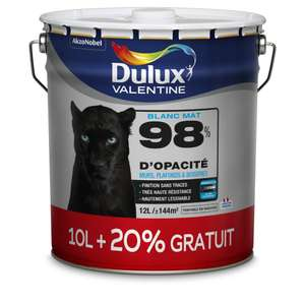 Pot de peinture Dulux Valentine blanc mat 98 % d'opacité (10 L + 20%) + Sous couche Julien 12L (via ODR)