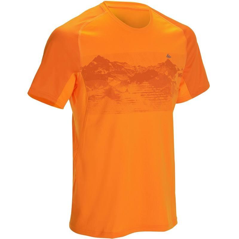 Tee Shirt Randonnée Quechua Tech Frech 100 - Manches Courtes pour Homme (Orange)