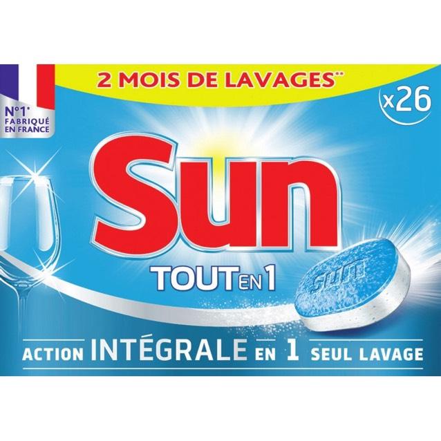 Tablettes Lave-Vaisselle Sun Tout-en-1 Action Intégrale (Via 2.68€ sur la Carte de Fidélité + BDR)