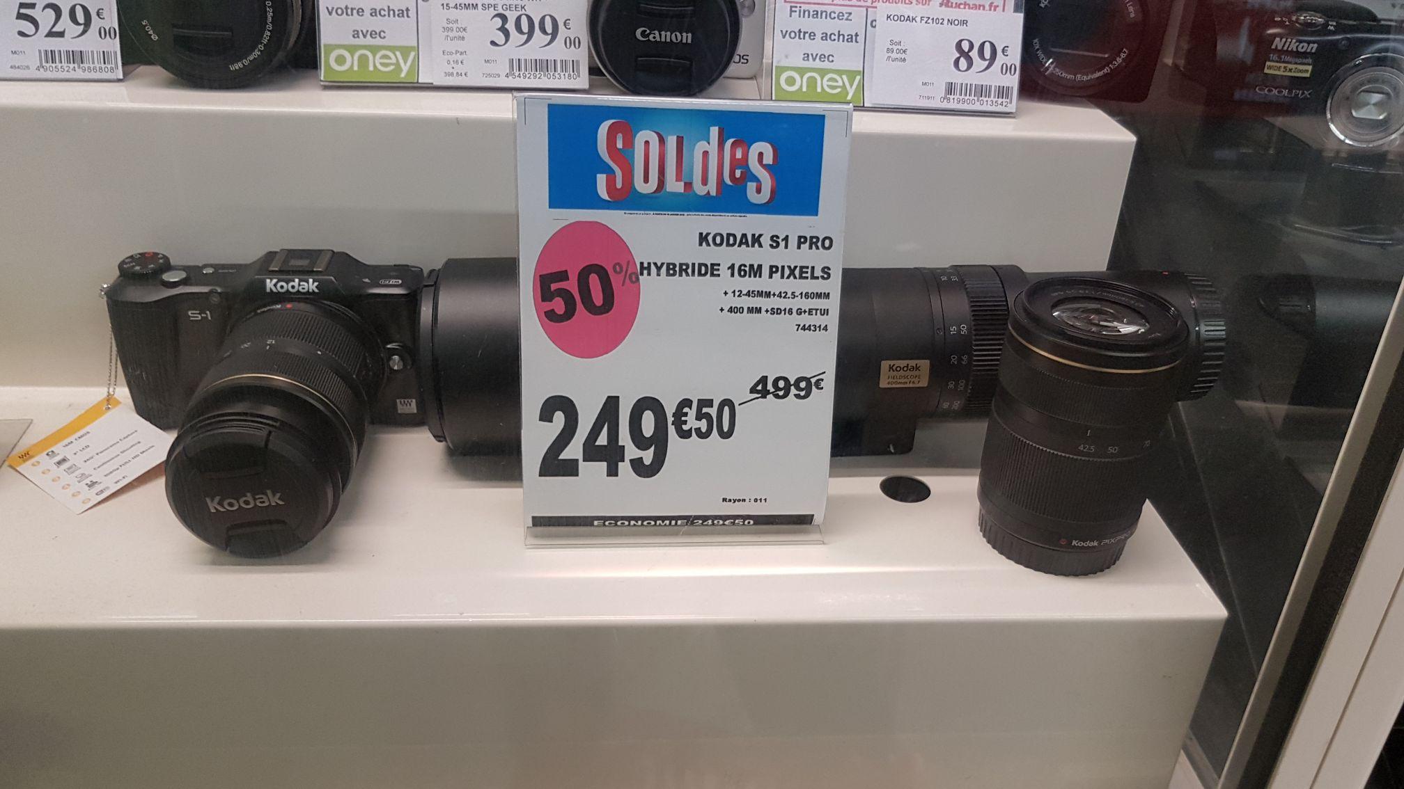 Réflex Hybride Kodak S1 Pro +  objectif 400mm + objectif 12-45mm+ 42.5-160 mm + carte SD 16Go + étui - La Défense (92)