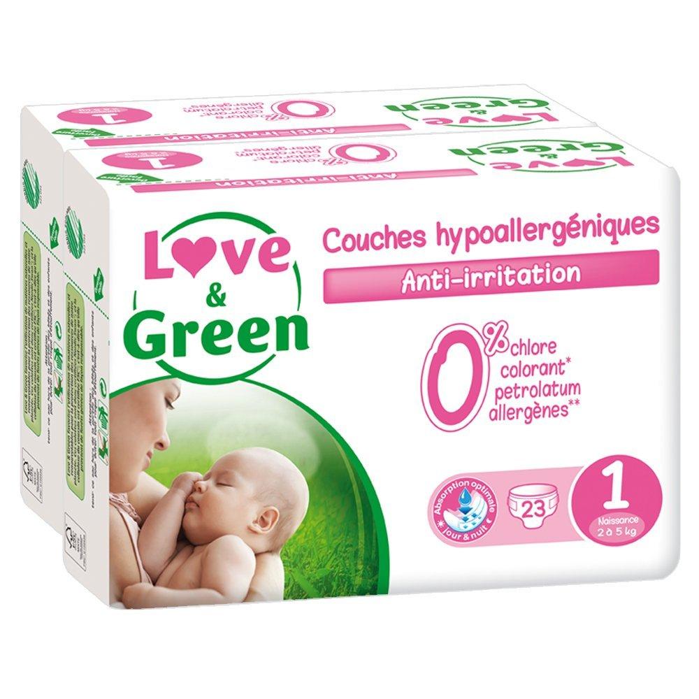 Couches Bébé Hypoallergéniques 0% Love & Green - Taille 1 (2-5 kg)