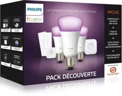 Pack Philips Hue E27 White & Colors : 3 Ampoules (V3) + Pont + Détecteur de mouvement + 2 Télécommandes Dimmer