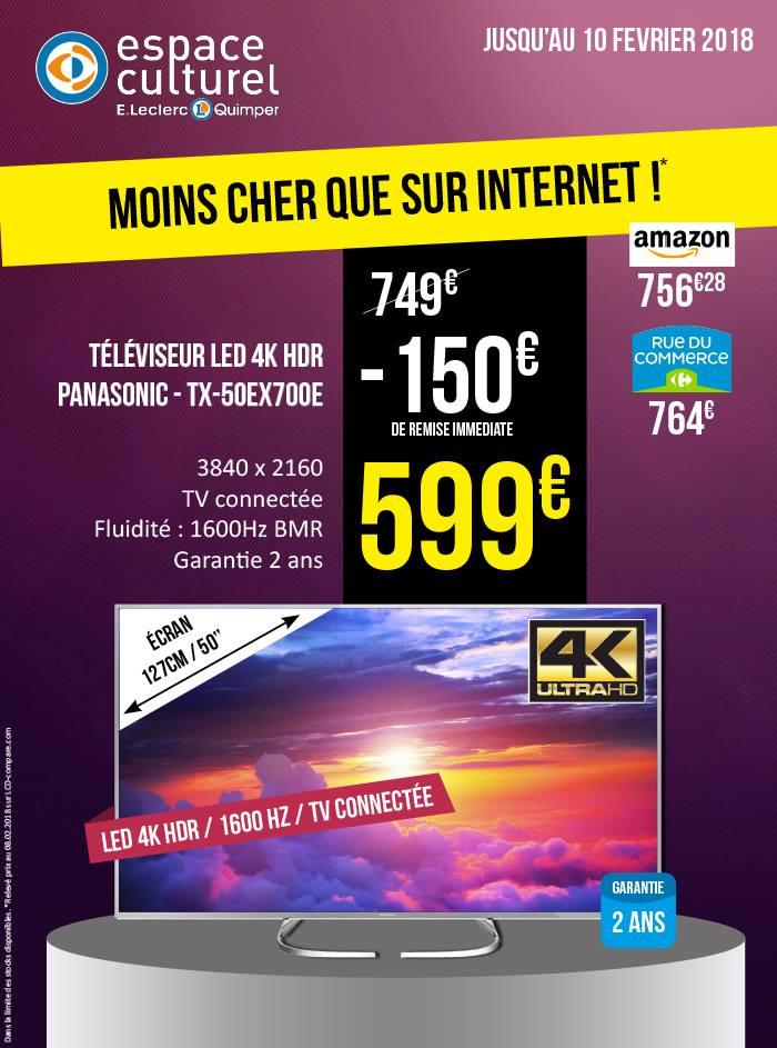 """TV LED 50"""" Panasonic TX-50EX700E - 4k, Dalle VA, Smart TV - Leclerc Quimper (29)"""