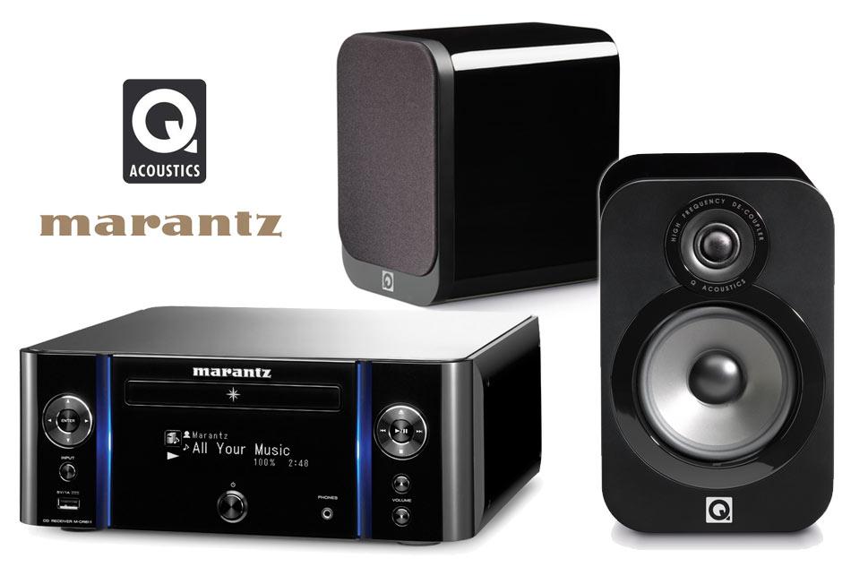 Ampli Hi-Fi Réseau Marantz M-CR611 - Noir + Paire d'enceintes Bibliothèque Q Acoustics 3020 - Laqué noir ou blanc+ Câble QED 79 - 5m (homeavdirect.co.uk)