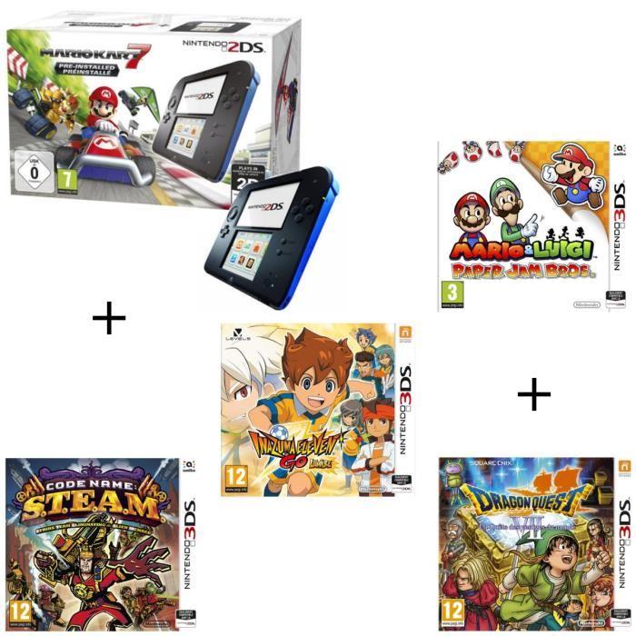 [Cdiscount à volonté] Sélection de packs Nintendo 2DS - Ex : Console + Mario Kart 7 + Mario & Luigi: Paper Jam Bros. + Code Name: S.T.E.A.M. + Inazuma Eleven Go: Lumière + Dragon Quest VII