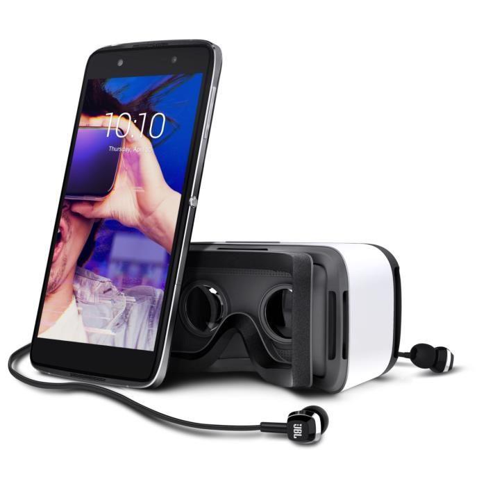 "[Cdiscount à volonté] Smartphone 5.2"" Alcatel Idol 4 (Dark Gray) - Full HD, Snapdragon 617, RAM 3 Go, ROM 16 Go + Casque de réalité virtuelle"