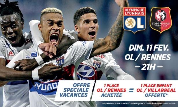 Pour toute place OL-Rennes achetée(s) =  une place OL-Villarreal offerte pour les enfants de -16 ans