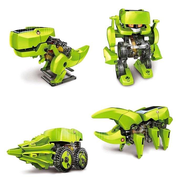 Mini-jouets kits à construire robots solaires 4 en 1 - dinosaure, foreuse, insecte et robot