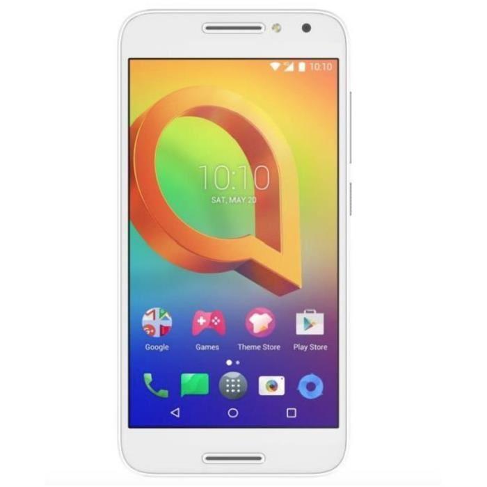 "Smartphone 5"" Alcatel A3 Pure Dual SIM Blanc - IPS HD, RAM 1.5Go, 16Go, Android 6.0, 4G ( Via ODR 40€)"
