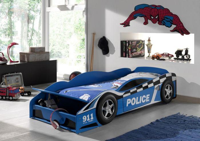 Lit enfant voiture police - 140 x 70 cm
