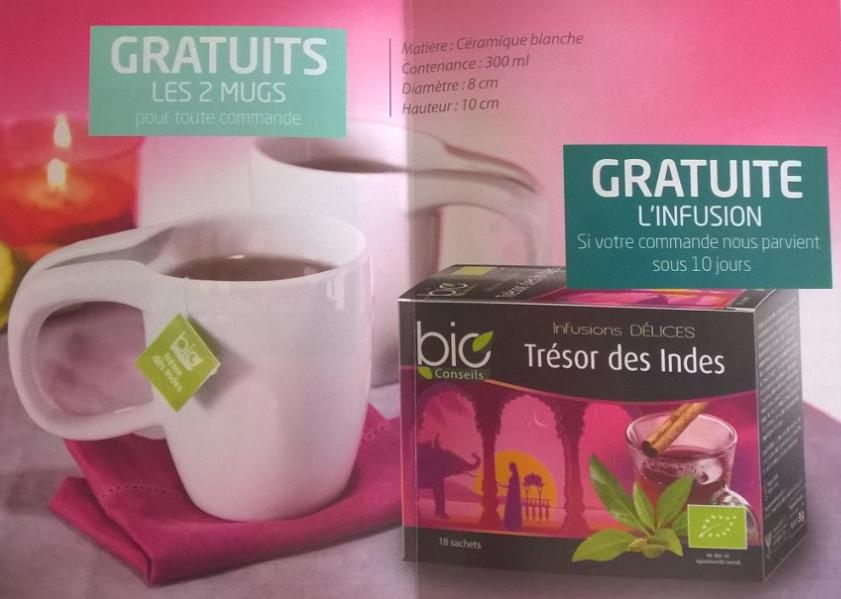 """16 gélules Seneforté + 2 mugs 300ml + 18 sachets infusion """"Trésor des indes"""" / Port inclus"""
