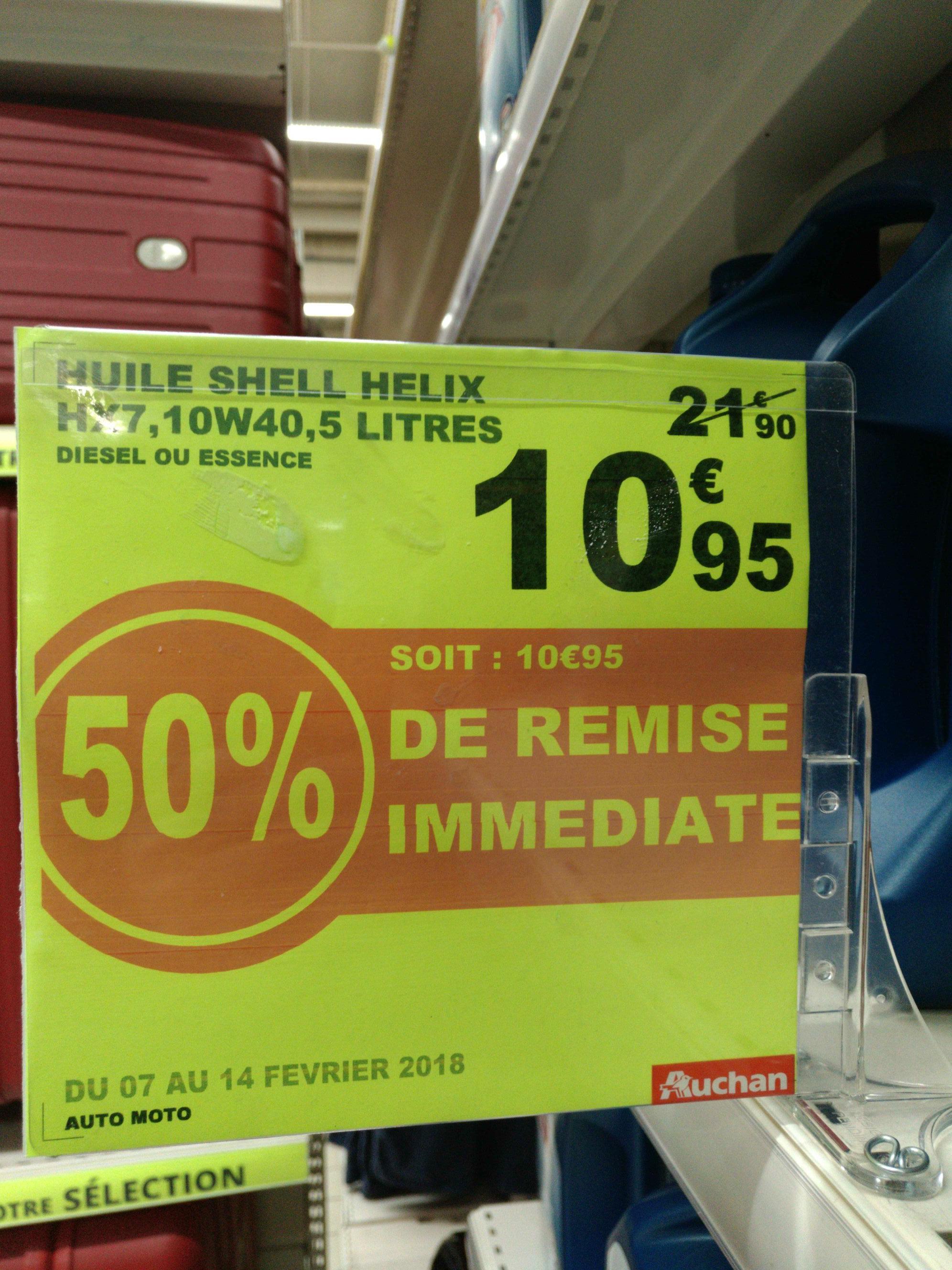 Sélection d'Huiles moteur en promotion - Ex : Huile Shell hélix hx7 10w40 ou 5w30 - Auchan val de fontenay (94)