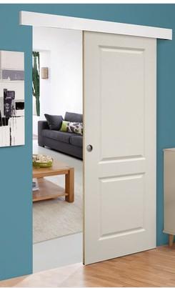 Porte prépeinte blanche + Système en applique - 204x83cm