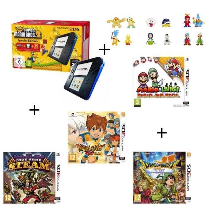Console Nintendo 2DS Bleue + New Super Mario Bros 2 + Mario & Luigi Paper Jam Bros + Code Name STEAM + Inazuma ElevenGoLumière + Dragon Quest VII La Quête des vestiges du monde + 3 mini figurines mario aléatoires