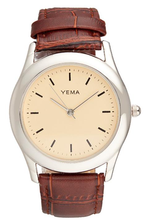 Sélection de montres pour homme et femme en promotion - Ex : Montre homme à quartz en cuir Yema - Marron et argenté
