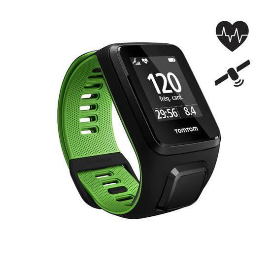 Montre GPS TomTom Runner 3 Cardio - Noir/vert, Taille S ou L (Frontaliers Belgique)