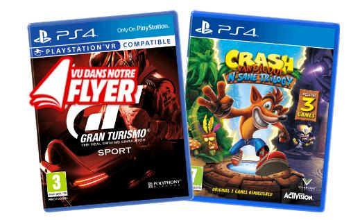Gran Turismo Sport + Crash N'sane Trilogy sur PS4 (Frontaliers Belgique)