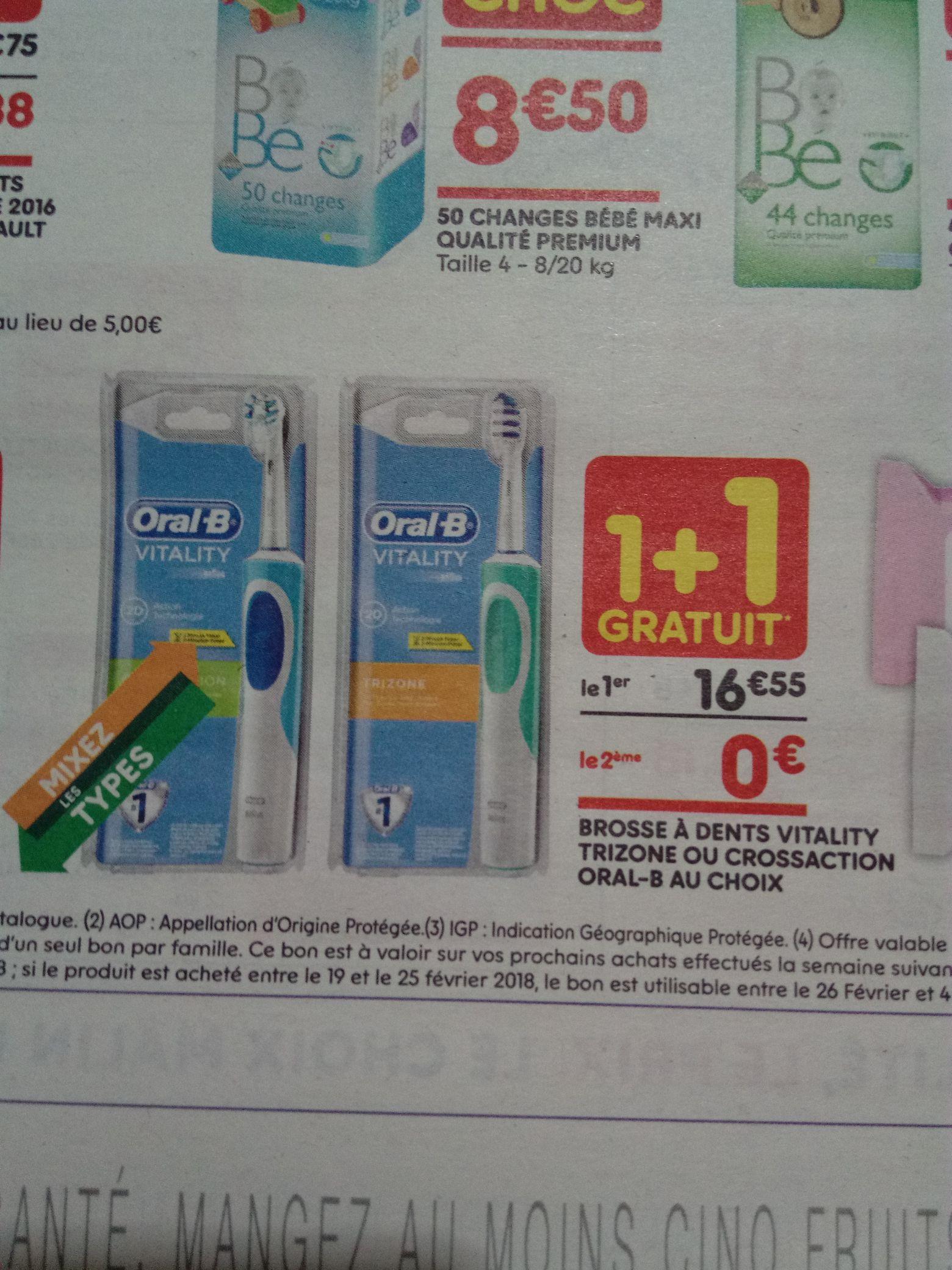 Lot de 2 brosses à dents électriques Oral-B Vitality CrossAction ou TriZone