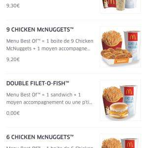 Menu Double Filet-O-Fish (Via Applications Mobiles - Frais de livraison inclus) - McDonald's‎ Paris Ledru-Rollin (75)