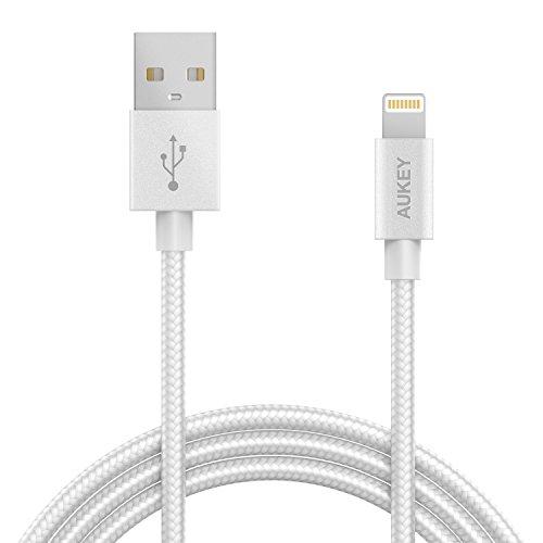 Câble Tressé Aukey Lightning en Nylon (Certifié MFI ) Blanc - 1,2m (vendeur tiers)