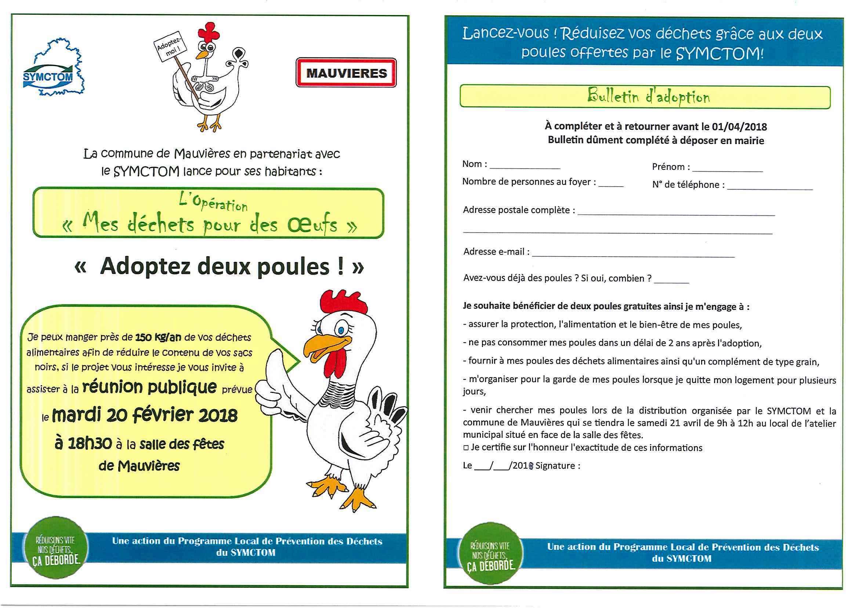 2 poules offertes pour réduire ses déchets - Mauvières (36)