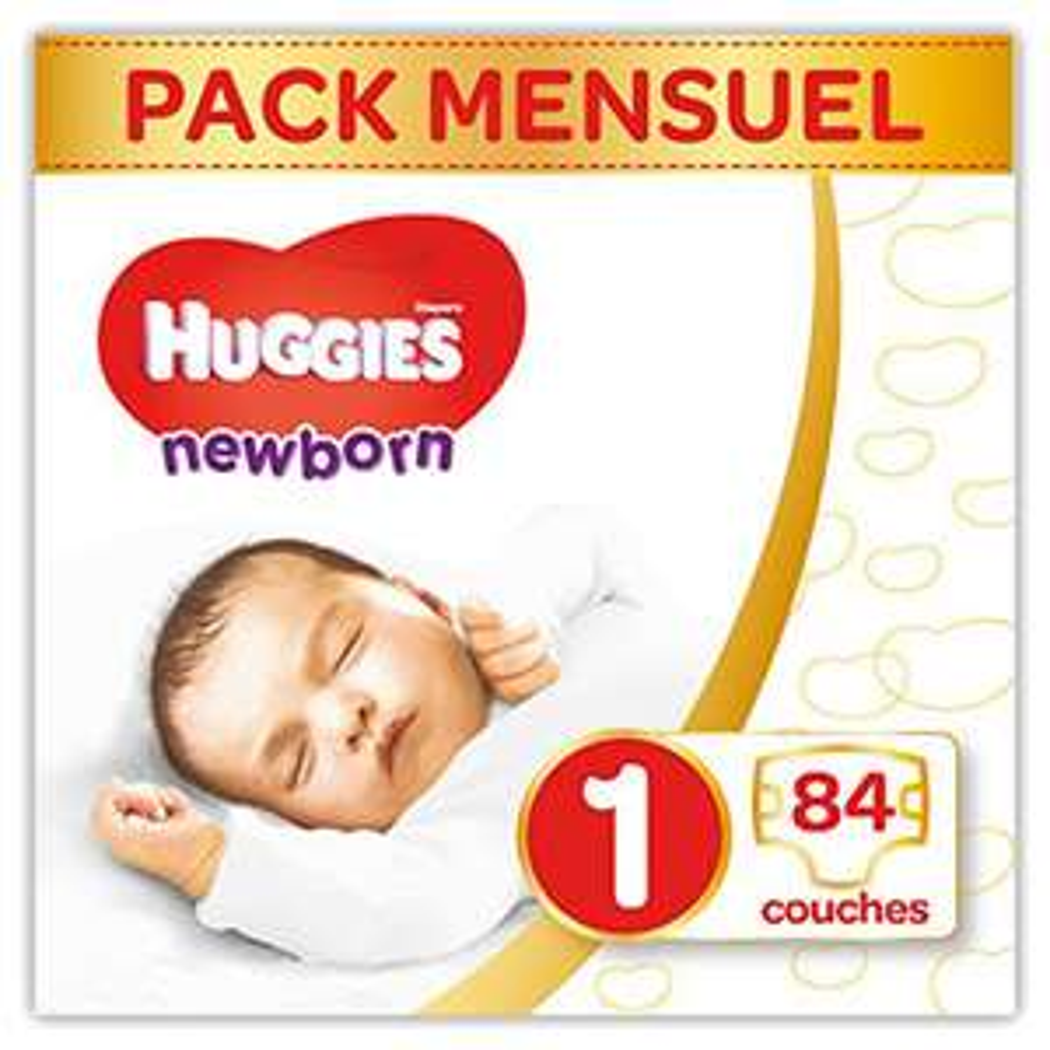 Selection de couches et de culottes Huggies en promotion - Ex : 84 Couches Huggies Newborn  Bébé Unisexe - Taille 1 2-5 kg (via Abonnement)