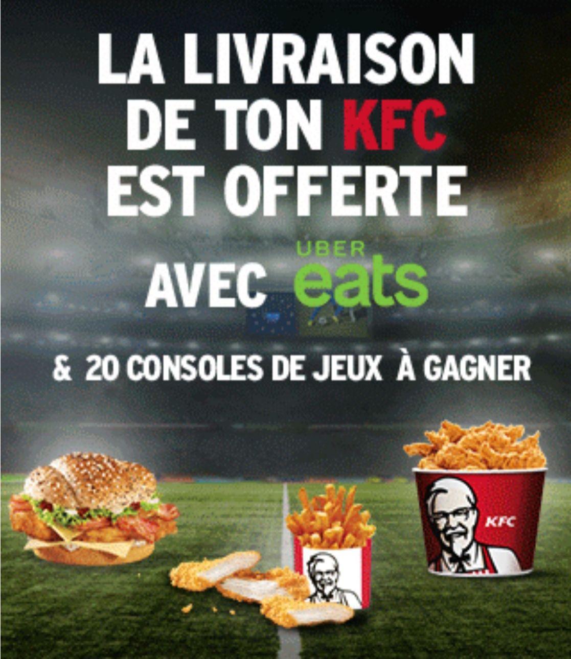 [A partir de 17h] Livraison Offerte pour les restaurants KFC participants