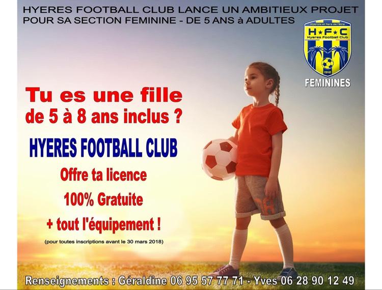 Licence de football + équipement gratuit pour toutes les filles de 5 à 8 ans au Hyeres football club (83)