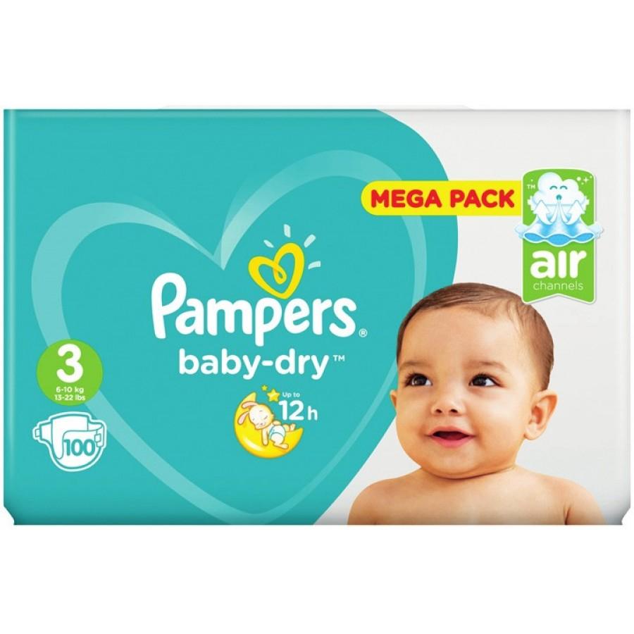Paquet de 100 couches Pampers Baby-Dry Taille 3 Mega Pack - différentes tailles (via 17.26€ sur la carte de fidélité + BDR 2€)